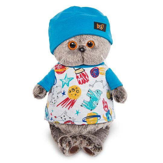 Кот Басик в футболке космос и шапочке