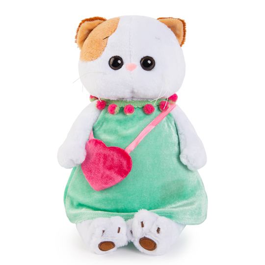 Кошечка Ли Ли в мятном платье с розовой сумочкой