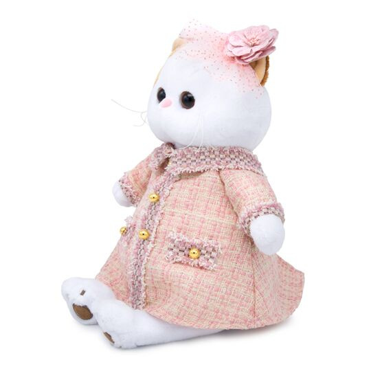 Кошечка Ли Ли в розовом костюме в клетку