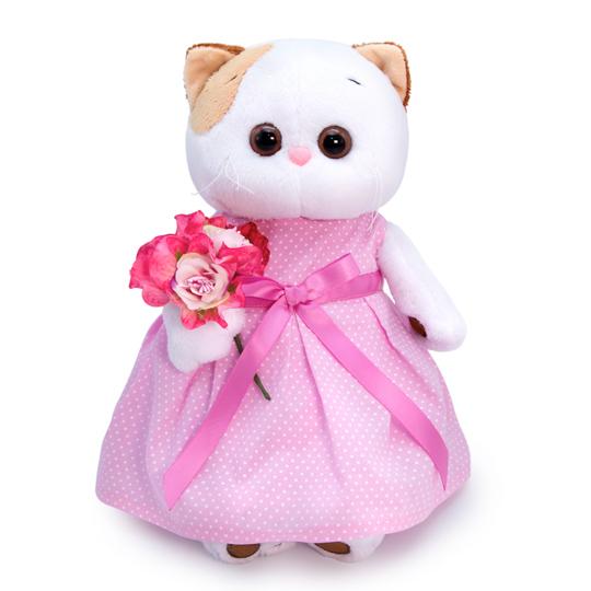 Кошечка Ли Ли в розовом платье с букетом