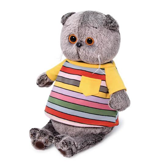 Кот Басик в полосатой футболке с карманом