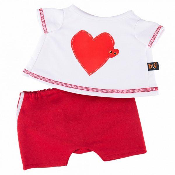 Одежда для Басика — Футболка с принтом Сердце и красные шорты