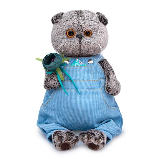 Одежда для Басика – Голубой комбинезон с розочкой